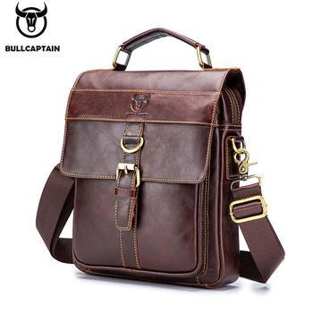 BULLCAPTAIN Retro Business Messenger Bag Leather Men's Shoulder Bag Fashion Casual Handbag Teen Student Bag