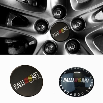 56.5mm/65mm Car Wheel Center Hub Caps Decal Stickers for Mitsubishi RALLIART ASX Lancer Colt Pajero Outlander Eclipse Galant image