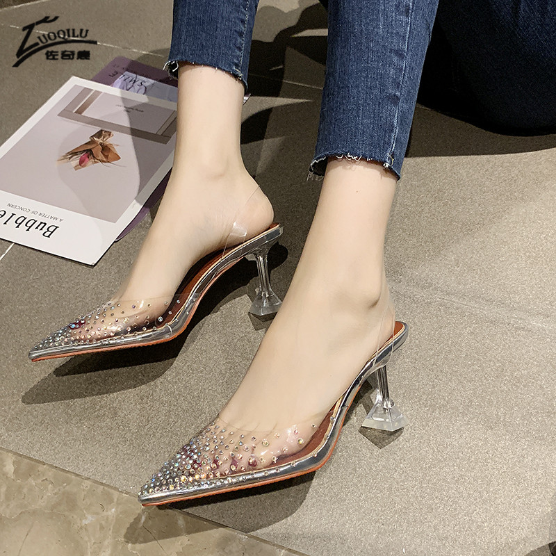 Transparent Crystal Wedding Shoes for Women High Heels Sandals Thin Heels Slingback Pumps Women Shoes Party Womne Shoes Heels