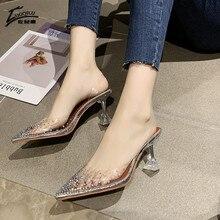 Transparent Crystal Wedding Shoes for Women High Heels Sandals