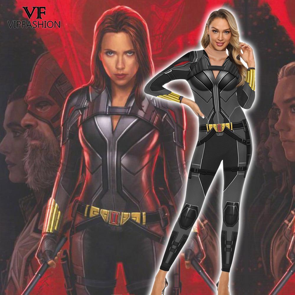 VIP FASHION Moive Superhero Avengers Black Widow Cosplay Costumes Natasha Romanoff Jumpsuits Halloween Purim Carnival CostumesMovie & TV costumes   -