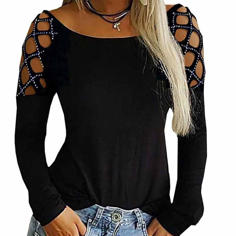 Rosetic Black Loose T-Shirt Women Sexy Mesh Hollow Goth High Street Hot Drilling Long Sleeve Slim Sexy Club Top 2019 Autumn New