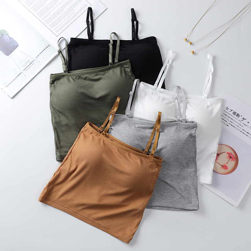 Women Crop Tops Summer Tanks Top Seamless Underwear Sexy Lingerie For Woman Solid Color Padded Camis Camisoles