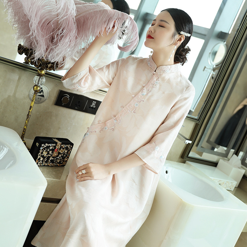 2020 Spring New  Improved Cheongsam Embroidery Chinese Style Zen Clothing Stand Collar Loose Large Size Dress Tea Ceremony Hanfu