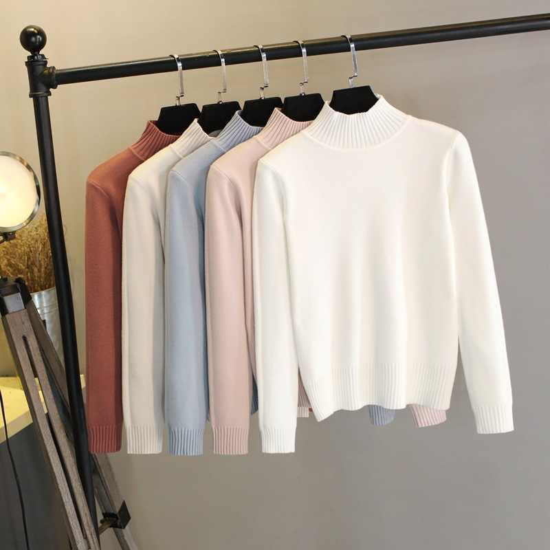 2019 женский осенне зимний вязаный свитер однотонный хлопковый пуловер с