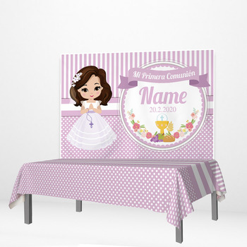 Allenjoy Princess Photozone Girl First Communion Party Banner Tablecloths Stripes Flowers God Bless Tablecovers Home Decoration