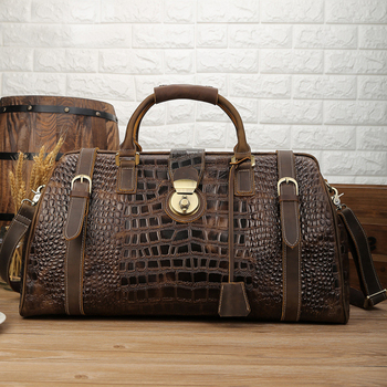 Luufan Vintage Genuine Leather Mens Travel Bag Big Capacity Crocodile Duffle Carry On Luggage Overnight Alligator - discount item  35% OFF Travel Bags