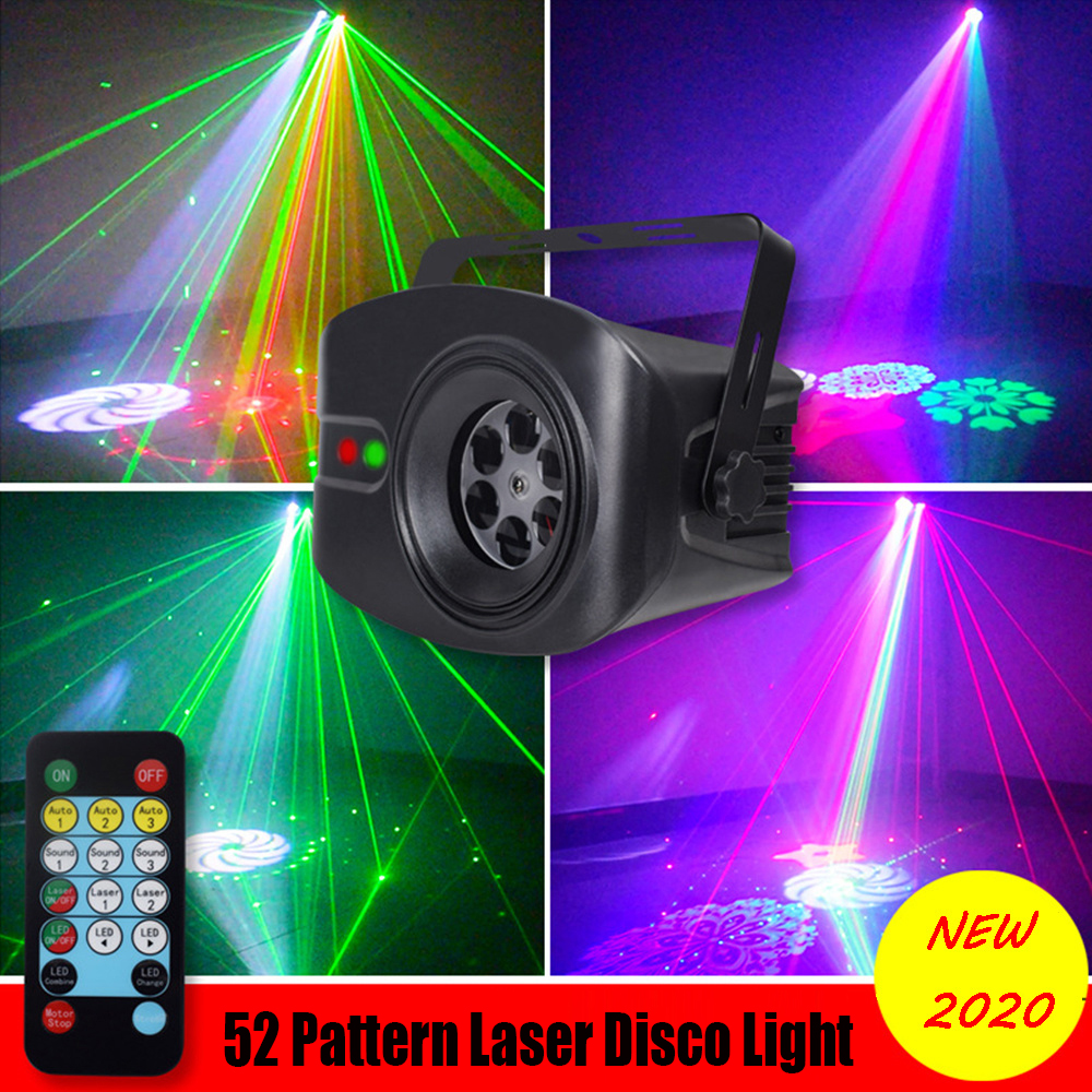 New 52 Patterns LED Disco Party Light Laser Projector Lamp Indoor Stage Effect Lighting Show Music Remote Control KTV DJ Light