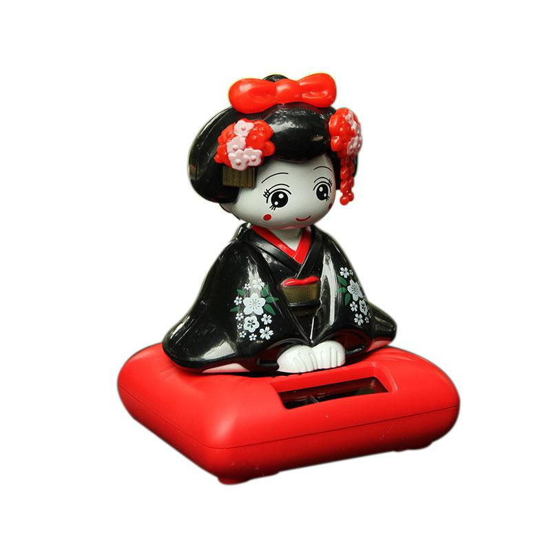 Solar Energy Powered Bobblehead Toy Figure Nohohon, Japanese Kimono Maiko Geisha Car Home Decoration Articles