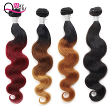 May Queen Malaysian Body Wave Hair Bundles 10-26 Inch 100% Human Hair Weave Pre Color Ombre Hair Bundles Remy Hair 1 pcs boutique body wave ombre women s 6a virgin chinese hair weave