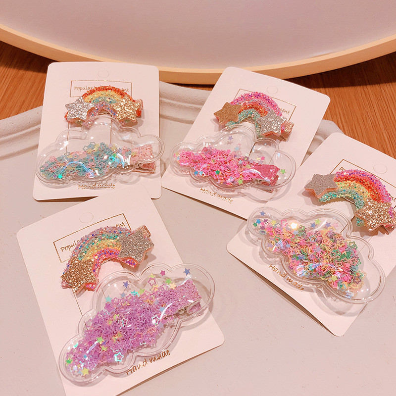 2020 Spring And Summer New Children'S Hair Clip Set Rainbow Cloud Sequin Duckbill Clip