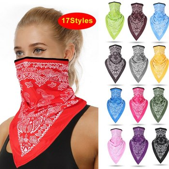 Triangle Bandana Face Scarves Hanging Ear Tube Scarf Neck Gaiter Cover Smooth Breathable Headband Men Women Cotton Headscarf image