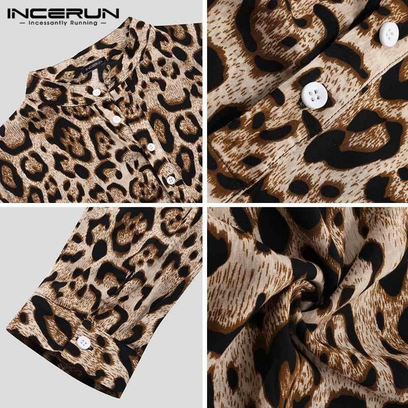 INCERUN 2020 hommes robe chemise imprimé léopard haute rue à manches longues beau col montant Camisa Chic affaires hommes marque chemises