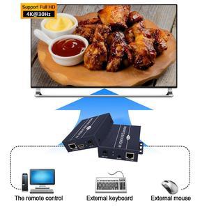 Image 3 - 2020 הטוב ביותר IP רשת HDMI KVM Extender 200m עם לולאה החוצה 1080P RJ45 יציאות HDMI Extender IR 660ft HDMI USB Extender מעל Cat5e/6