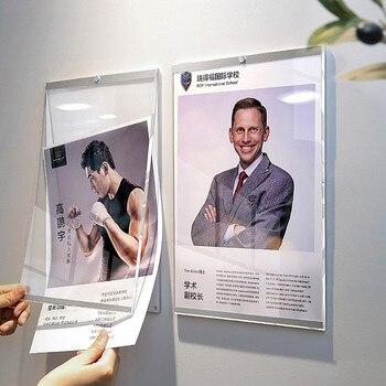En plastique acrylique affiche photo papier présentoir cadre A3 A4 magasin publicité Promotion pas de trous de perforation sur le mur 4 ensembles