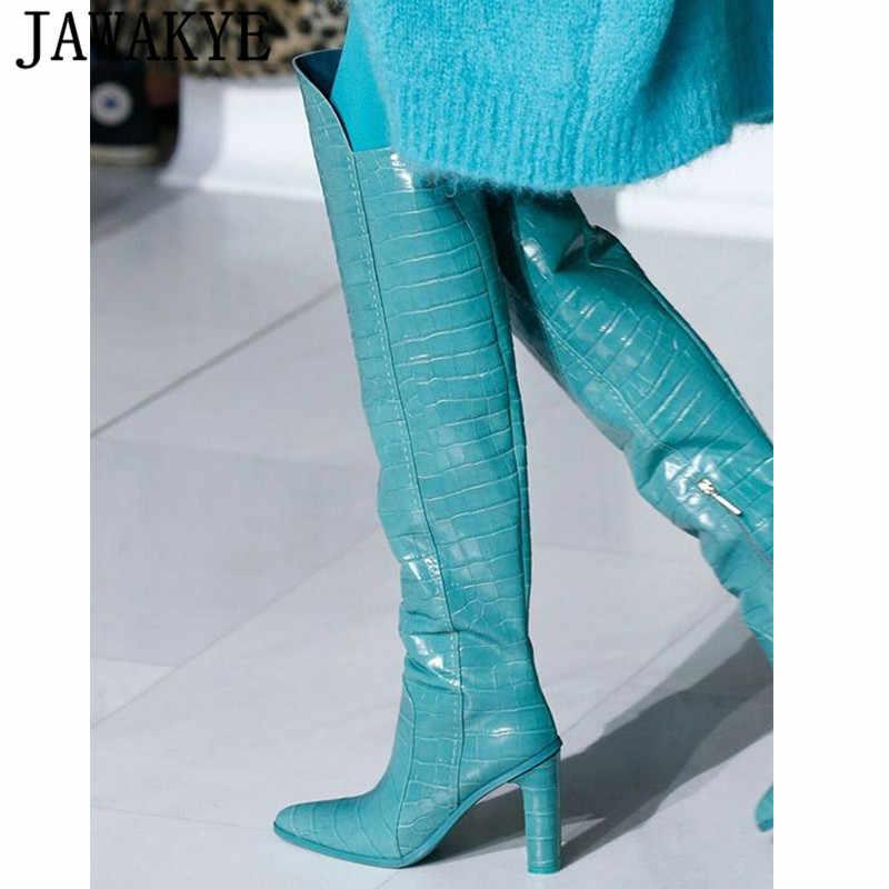 Crocodile Leather Knee high boots women