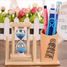 Student gift rotating hourglass pen barrel creative timer pen piece office stationery wooden pen insert crafts цена 2017