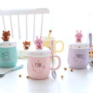 Image 3 - OUSSIRRO taza de cerámica con dibujos de animales para parejas, taza de café, leche, taza de oficina, cuchara con tapa