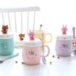 Image 3 - Ousirro tasses créatives pour Couple en céramique, tasses de dessin animé danimaux, tasse à café, lait, tasse, couvercle, cuillère