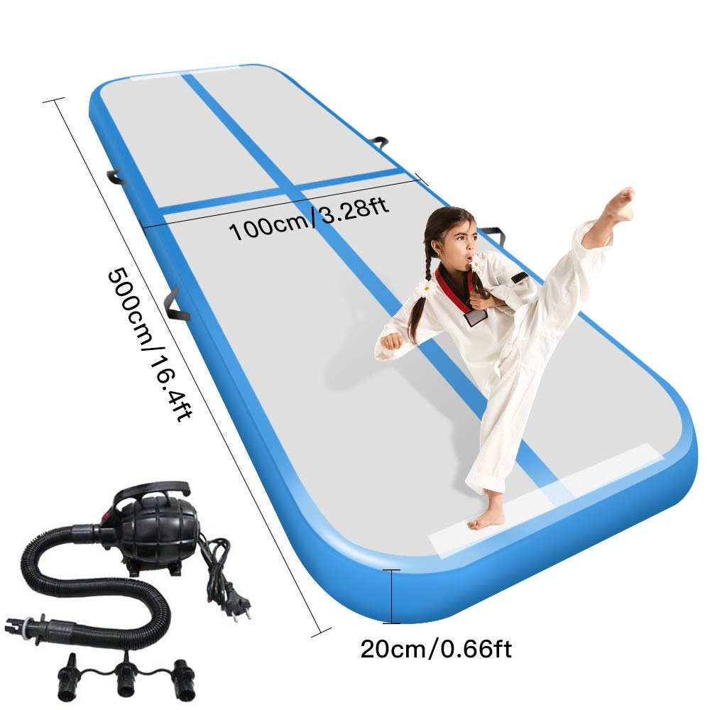 Factory Price Inflatable Airtrack 5M Inflatable Gymnastics Air Track Mats With Pump Home Use Tumbling Track/Bouncing Mattress