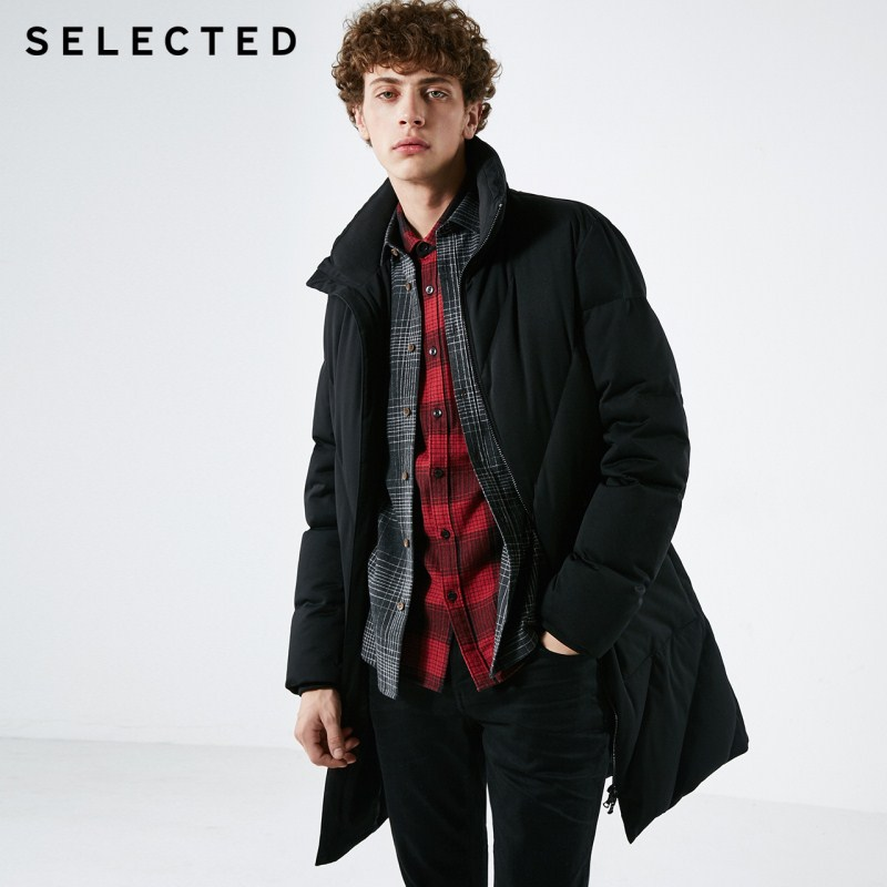 SELECTED Winter Men's Down Jacket New Male Duck Down Vertical Collar Coat Warm Mid-long Down Clothes Suit S | 418412572