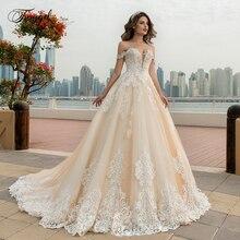Traugel Off The Shoulder A Line Lace Wedding Dresses Applique Beading Lace Up Bride Dress Chapel Train Bridal Gown Plus Size