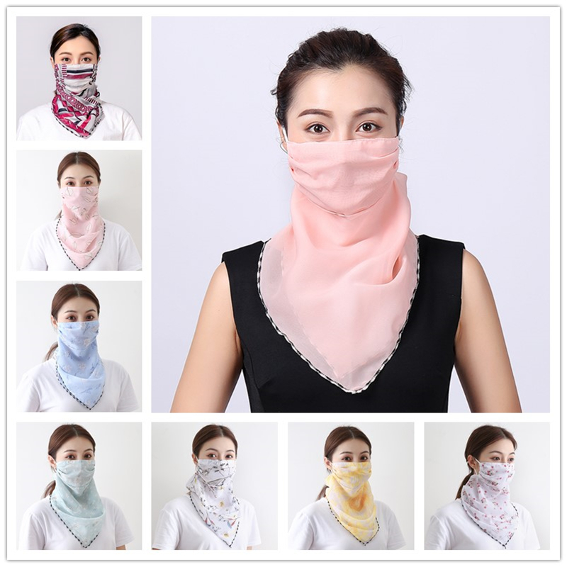 Fashion Women Face Mask Scarf Chiffon Sunscreen Floral Foulard Lady Mouth Scarves Outdoor Anti Dust Mask Breath Silk Scarves