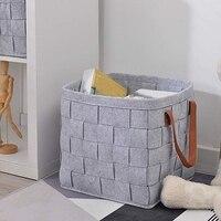 Felt Storage Baskets with Handles Soft Durable Toy Storage Nursery Bins Home Decorations (Grey)   -