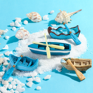 1 SET Mini Boat And Paddle Figurine Ornament DIY Micro Landscape Meaty Plants Fairy Garden Dollhouse Miniatures Garden Tools