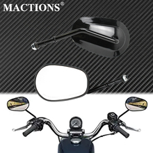 Motorcycle Rearview Side Mirror Black For Harley Sportster XL 1200 XL883 Bobber Chopper Touring Road King Street Glide Softail