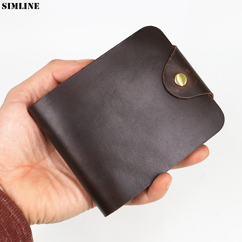 100% Genuine Leather Wallet For Men Male Vintage Cowhide Short Hasp Wallets Purse With Card ID Holder High Quality Mens Carteira