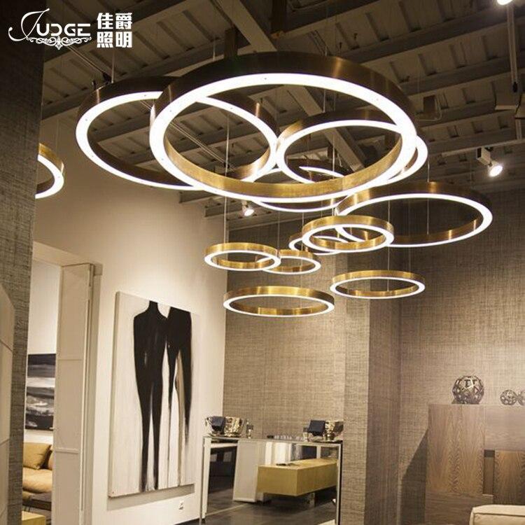 Led anel de ouro forma um lustre pós moderna concisa originalidade personalidade lobby uma sala estar lâmpada do hotel um lustre - 3