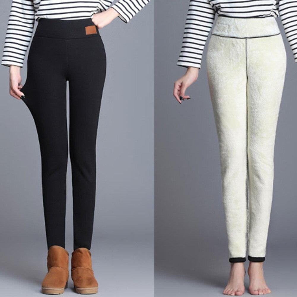 New Warm Pants Winter Skinny Thick Velvet Wool Fleece Girls Leggings Women Trousers Lambskin Cashmere Black/Gray Leggings