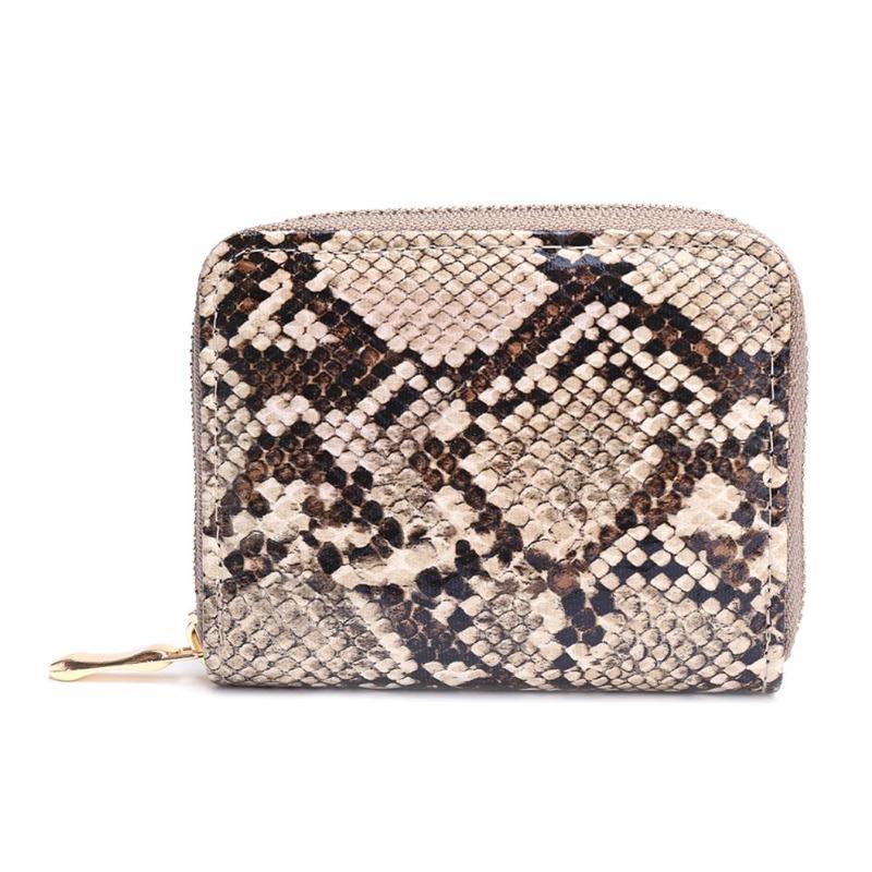 Fashion PU Leather Clutch Snake Print Bag Women Short Coin Purse Serpentine Money Bag Zipper Wallet Card Holder