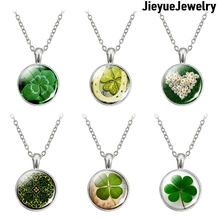 New Charm Four-leaf Clover Lucky Necklace Clover Glass Cabochon Pendant Necklace Long Silver Color Lucky Chain Diameter  25cm