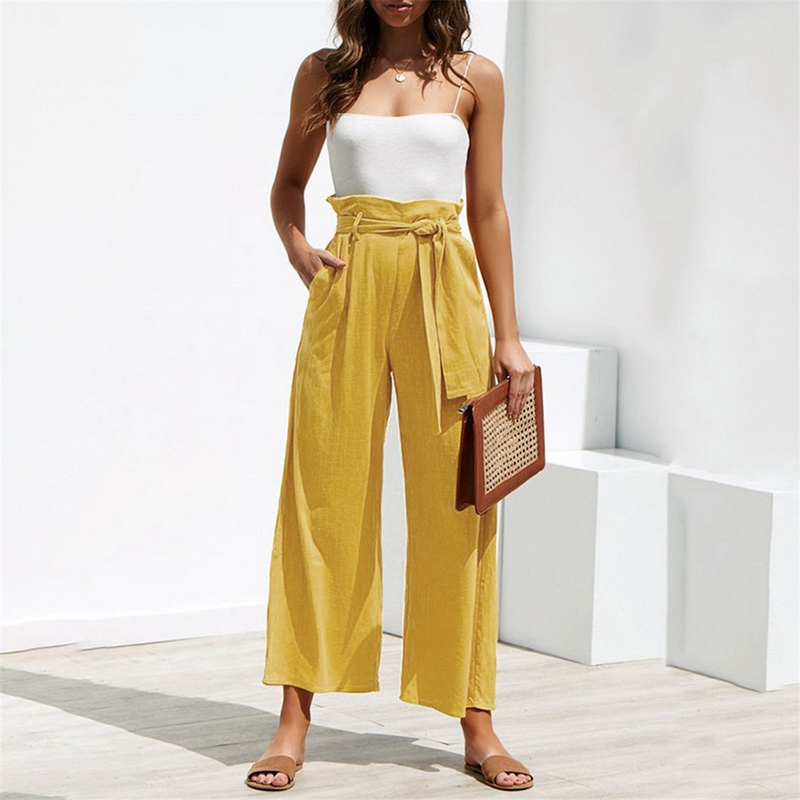 2019 Women Belt Female Summer Pants Women Wide Leg Pants Solid Color Cotton High Waist Tie Front Casual Loose Trousers