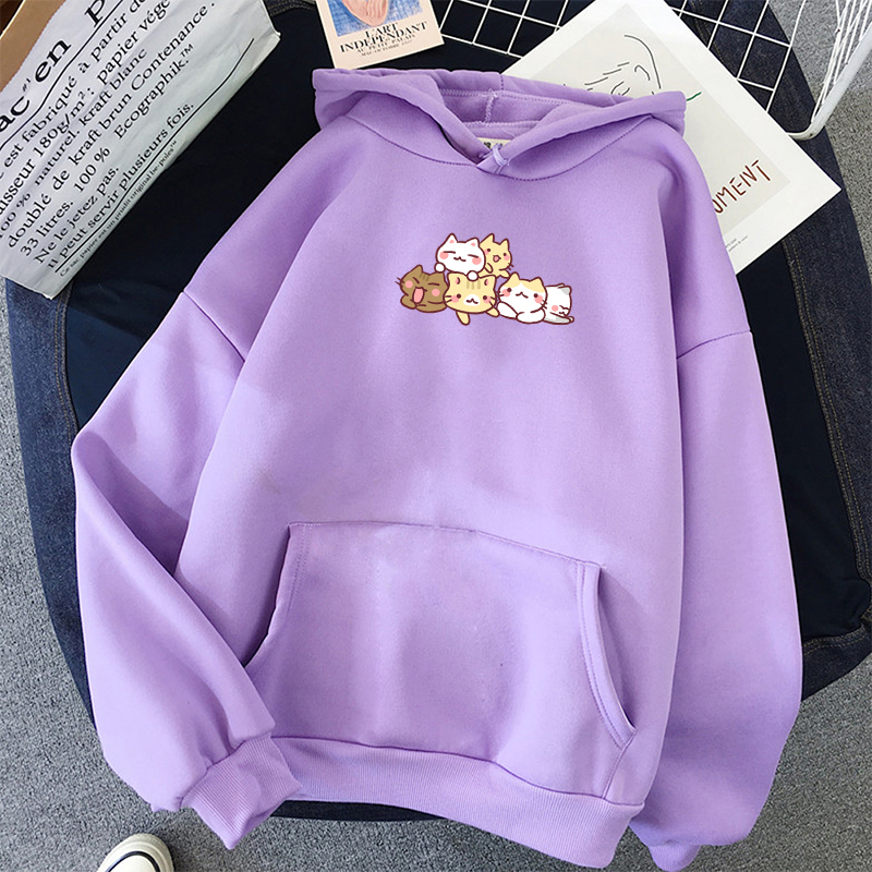 Korean Style Women Autumn Long Sleeve Pullover Hoodie Cute Cat Printed Loose Fit Sweatshirt Oversize Hoodies Women