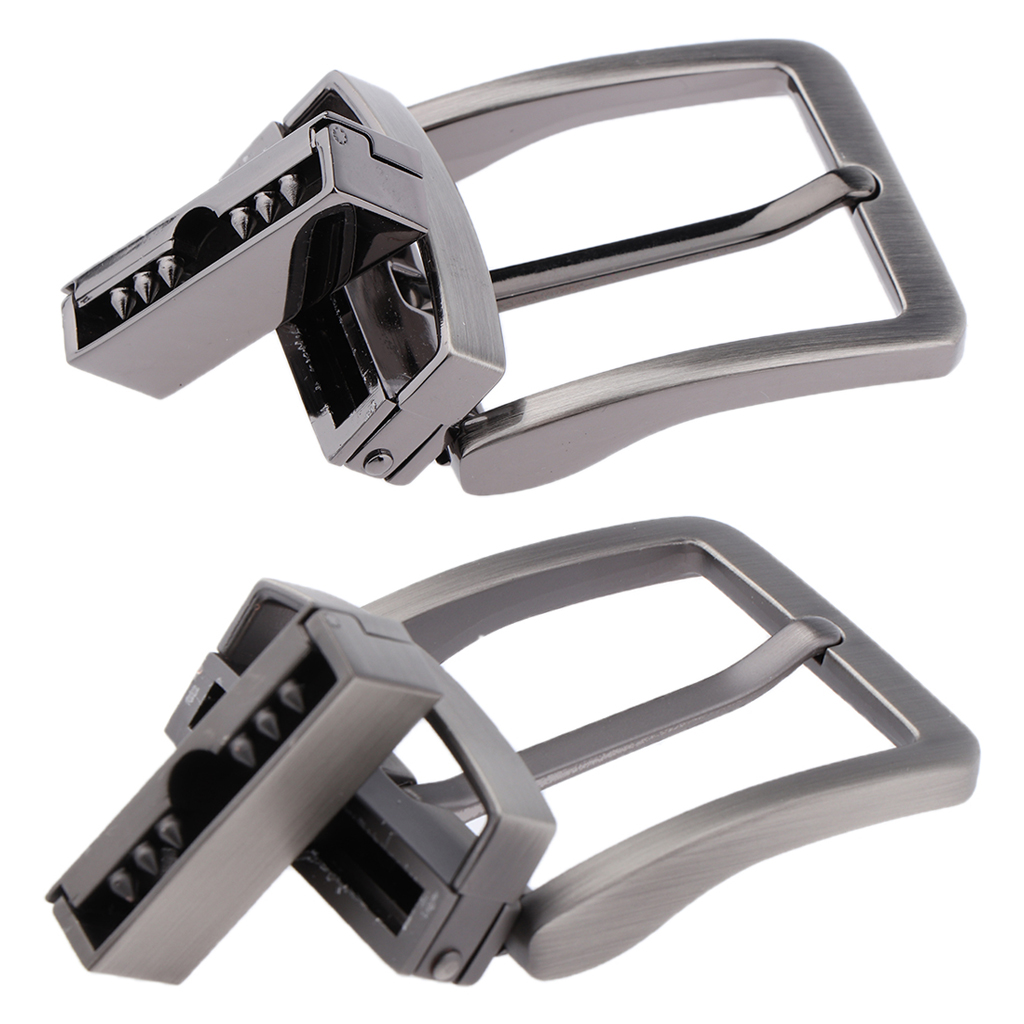 2pcs Reversible Belt Pin Buckle Single Prong Rectangle Retro Replacements For Men