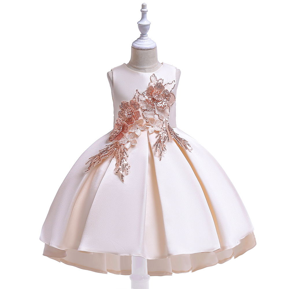 New Style GIRL'S Gown Embroidery Tailing Flower Dress Puffy Satin Princess Dress Party Performance Formal Dress