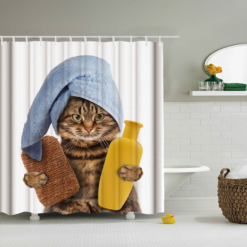 Lustige Katze Nehmen EIN Bad Gedruckt 3d Bad Vorhänge Wasserdicht Polyester Stoff Waschbar Badezimmer Dusche Vorhang Bildschirm Mit Haken