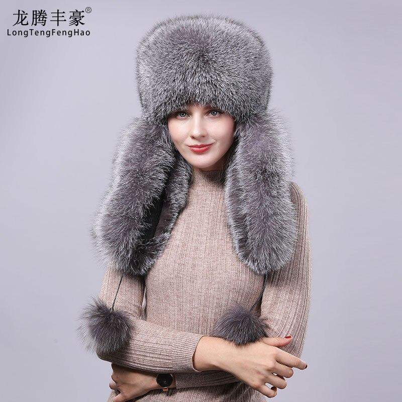 Femmes fourrure chapeau naturel raton laveur fourrure de renard russe chapeau hiver épais chaud oreilles mode bomber chapeau noir nouvelle annonce