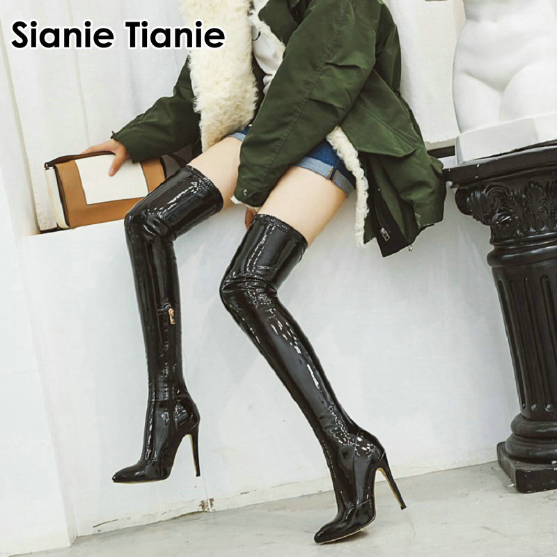 Runway Patent Soft PU Leather Stretch Fabric Women Over-the-Knee Crotch Long Boot Thin High Heeled Pointed Toe Thigh High Boots