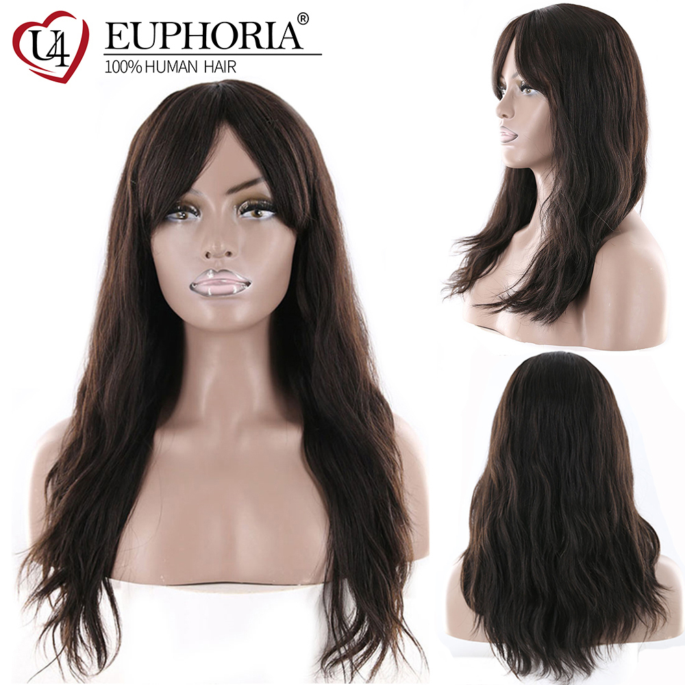 Natural Wave Human Hair Wigs With Bangs Middle Part EUPHORIA Brazilian Long Natural Color Hairpiece For Women 100% Remy Hair Wig