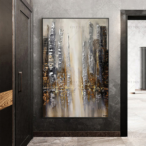100% Handmade Fall View Brown Abstract Painting Modern Art Picture For Living Room Modern Cuadros Canvas Art High Quality(China)
