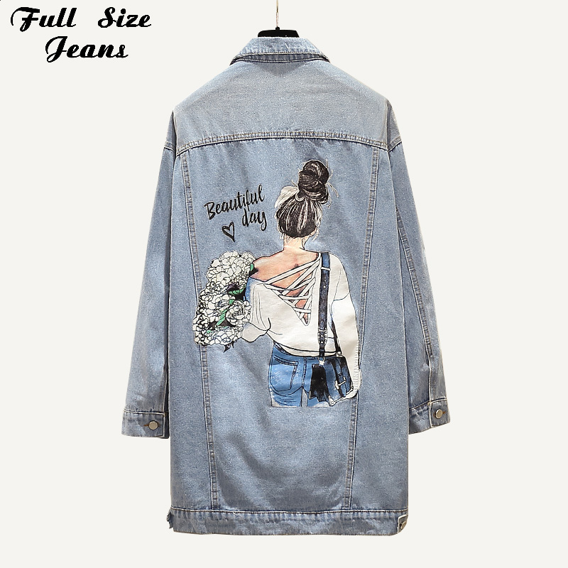 Plus Size Beauty Girl Print Long Jeans Jacket 4Xl Spring Midi Long Denim Coats Fashion Chi Korea Light Blue Outwear Mom Jean