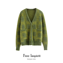 Free Inspirit Casual Style Computer Knitting V-neck Lady Single Breasted Cardigan Plaid Pattern Women's Mink Cashmere Sweaters double breasted v neck knitting cardigan