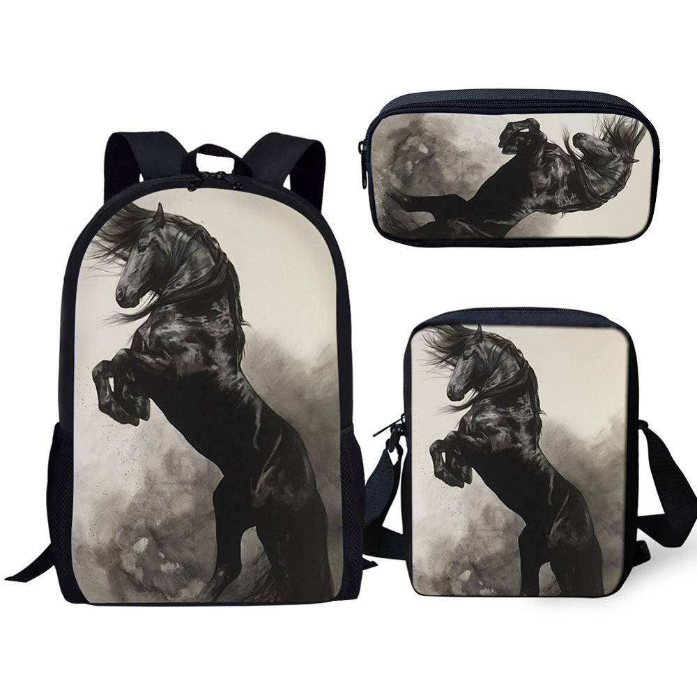 HaoYun 3Pcs/Set Handsome Black Horse Prints School Bags For Boys Teenager Girls Friesian Horse Backpacks Student Travel Bagpack