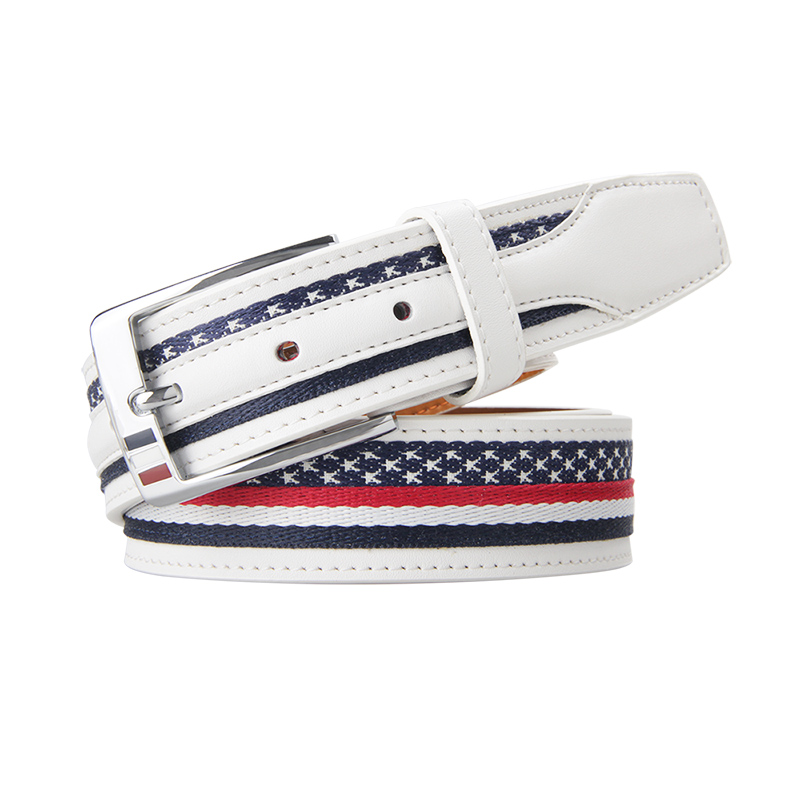 Men Elastic Belt High Quality Casual Durable Latest Mens Flag White Golf Leather Canvas Belt For Golf Stretch Woven Belt