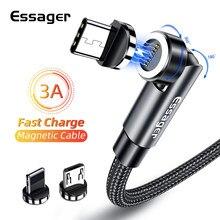Essager 540 rotation câble magnétique 3A charge rapide Micro USB Type C câble pour iPhone Xiaomi aimant téléphone chargeur données fil cordon