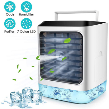 4IN1 Mini Portable Air Conditioner Personal Air Cooler Fan 7 Colors Led Conditioning Humidifier Purifier Desktop Air Cooling Fan